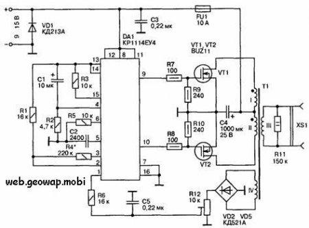 Двухтактный преобразователь напряжения на полевых транзисторах.