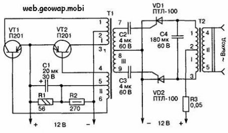 Схема тиристорного инвертора 12 220.
