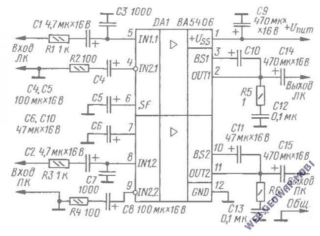 Стереофонический УМЗЧ на микросхеме ВА5406